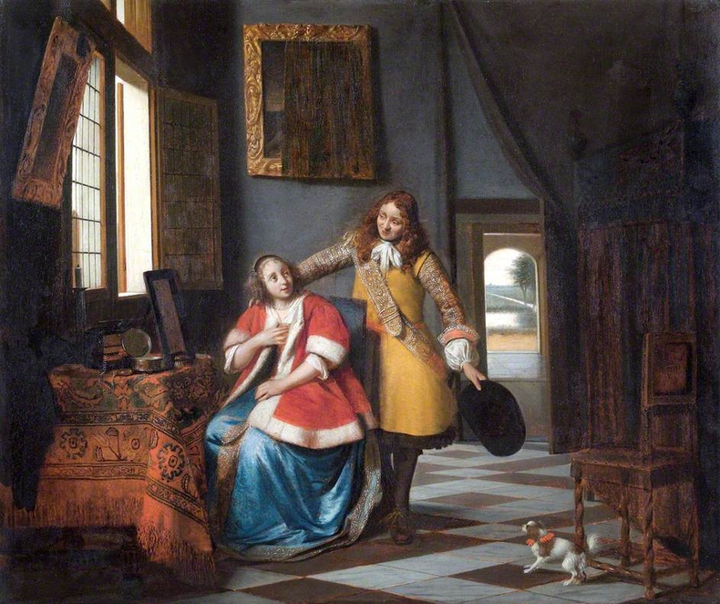 1665, Pieter de Hooch - A lady surprised by her lover