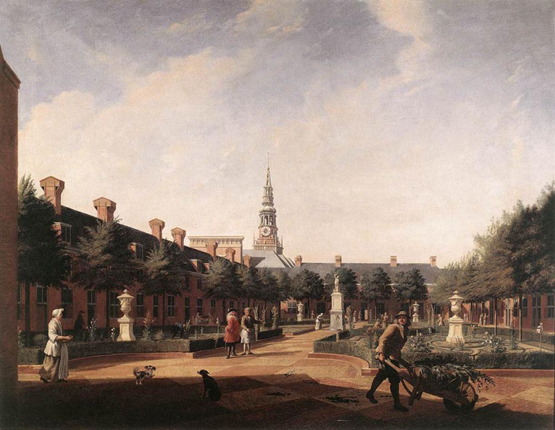 1735, Vincent Laurensz van der Vinne - The Courtyard Of The Proveniershof, Rokoko