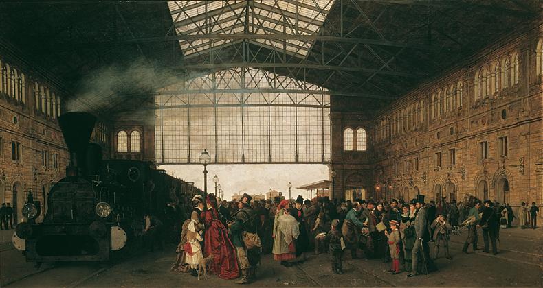 1875, Karl Karger - Ankunft eines Zuges am Nordwestbahnhof in Wien