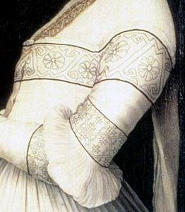1526-28, Hans_Holbein dJ - Darmstaedter Madonna, Detail Anna Meyer