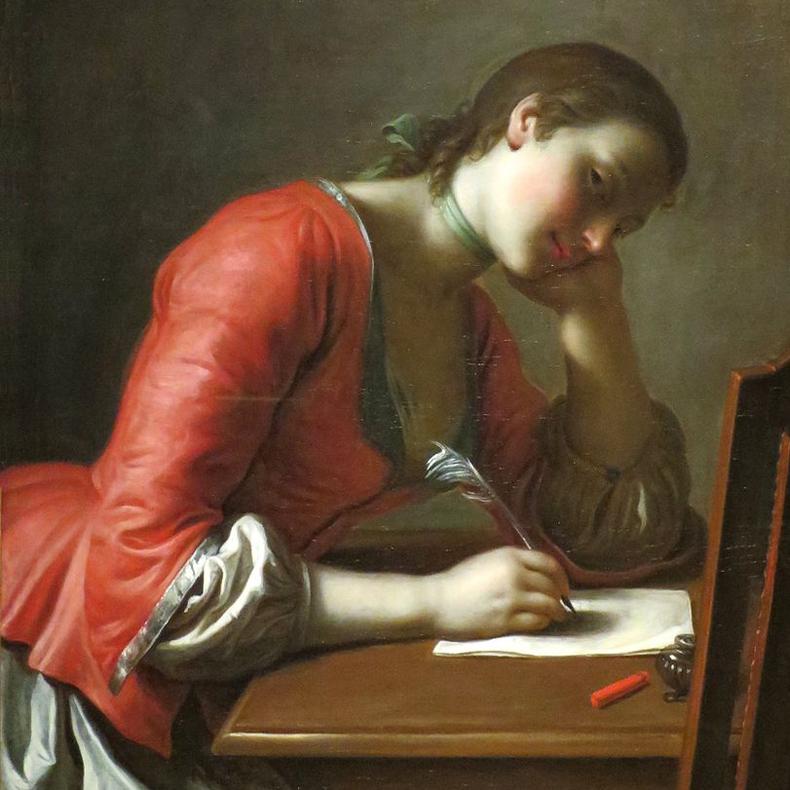1755ca, Pietro Antonio Rotari - Young Girl Writing a Love Letter